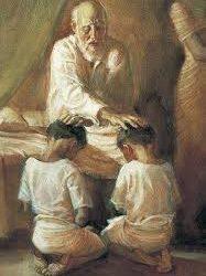 Ephraim et Manassé glorifiés par Jacob.